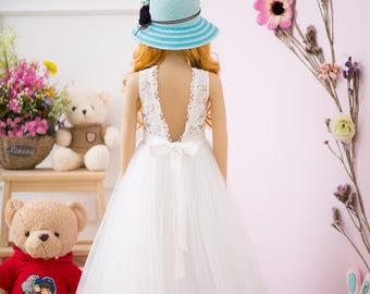 White flower girl dress, lace girl dress, tulle girl dress, communion dress, pageant dress, floor length