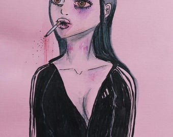 Original acrylic, ink and watercolor pencil painting