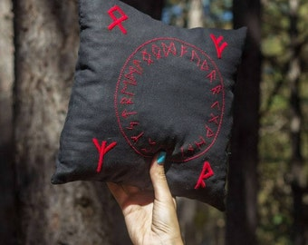 """Linen pillow with embroidery  """"Runic Circle/Futhark"""""""