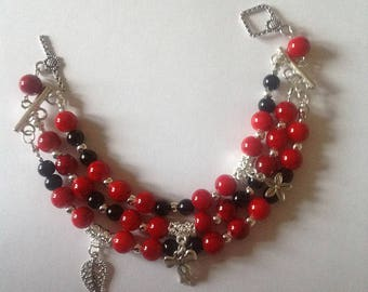 Red bracelet three strand bracelet charm bracelet handmade bracelet beaded bracelet
