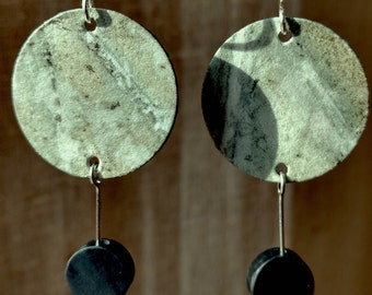 Eco Print Begonia Leaf Earrings