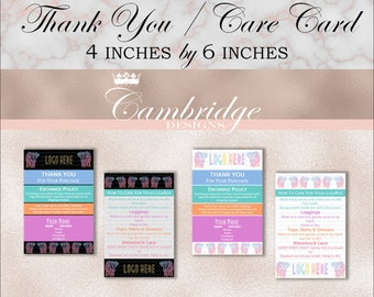 Thank You / Care Cards 4 X 6  - Home Office Approved Fonts and Colors Business Card, Digital