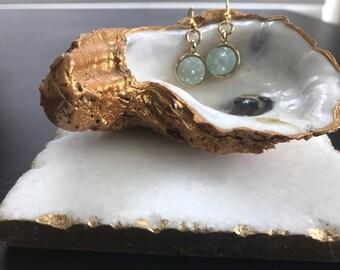 Mint Druzy Crystal Earrings