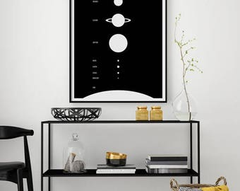 Solar System Poster / Astronomy Poster / Planet Print / Solar System Print / Scandinavian Art / Black and White Poster / Minimalist Wall Art