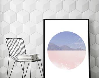 Print of Semi coral pink skies and semi mountains, Wall Decor, Geometric Art, Scandinavian Art, Circle