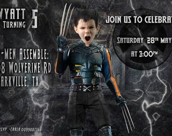 Wolverine Invitation with your BOY as WOLVERINE! X-MEN Birthday Invitation, Wolverine birthday Invitation,Logan, Xavier, Beast,