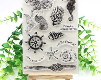 Mermaid Transparent Clear Silicone Stamp set for DIY scrapbooking photo album Decorative scrap book card making, collage