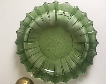 vintage green glass ashtray dish