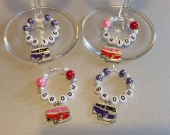 Pair of Retro VW Style Camper Van Wedding Wine Glass Charms, Bride, Groom, Mr & Mrs , any Combination or Any Name, Ideal Gift