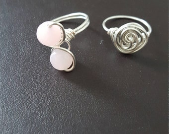 Pink Quartz Ring and Silver Plated Swirl Ring Set