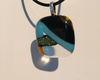 Sparkly blue and  black fused glass pendant