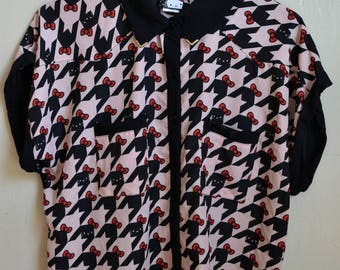 Official Hello Kitty pink houndstooth button up blouse with slouch sleeves