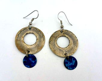 Hammered Metal Earrings - Round Earrings - Vintage Earrings - Dangle Earrings - Boho Earrings - Blue Earrings - Gifts for her - Under 20