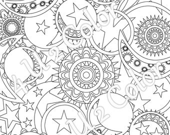 sun moon stars 1 coloring page sun moon - Sun And Moon Coloring Pages