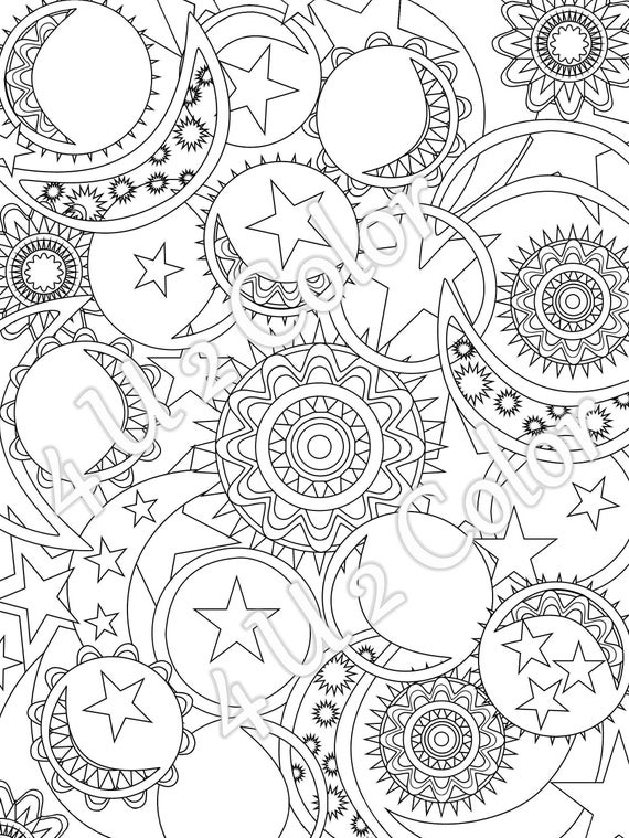sun moon stars 1 coloring page sun moon stars coloring page adult coloring page printable coloring page downloadable page - Sun And Moon Coloring Pages