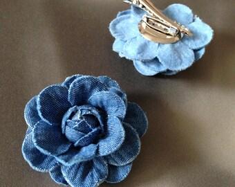 Denim hair clip chanel inspired denim flower brooch pin Hair accessory