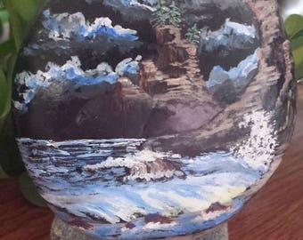 A Stormy Night - Hand painted beach rock
