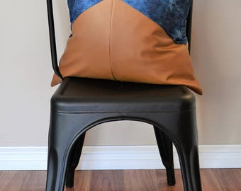 2 x Indigo Tie Dye and faux leather / leatherette cushion / pillow cover