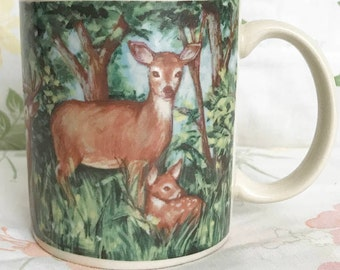 DEER mug fawn forest coffee cup tea bambi kitchen decor home decoration baby animal retro vintage cute kawaii kitsch kitschy ceramic