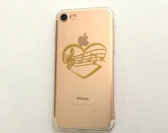Music Heart Phone Case, iPhone 7 Phone Case, Phone Case, Transparent Phone Case, Samsung Phone Case, iPhone 6S Case, 5S Case, 6 Plus Case
