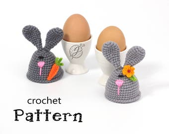 Bunny egg warmer Crochet PATTERN Egg cozy DIY tutorial Egg cosy pattern Easter pattern Crochet egg holder Last minute Easter DIY bunny cozy