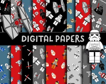 Star Wars Digital Paper, Star Wars Party Printable, Star Wars Birthday, Star Wars Scrapbook Paper, Star Wars Party Decoration,Wrapping Paper