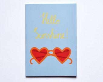Blue Postcard Hello Sunshine A6 Baby Summer Sunglasses Sunshine