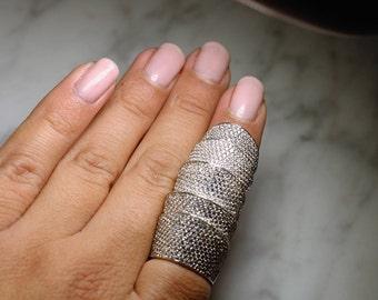 Elegant Sterling Silver Full Finger Ring
