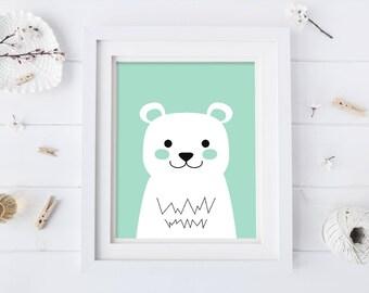 Mint Nursery Print - Bear Nursery Print - Bear Art - Bear Prints - Nursery Wall Art - Kids Wall Art - Kids Art Prints - Digital Artwork