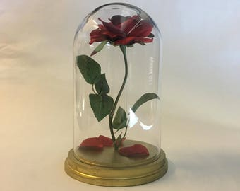Beauty and the Beast Rose, Enchanted Rose, Rose in Glass Dome, Gold Base - 11""