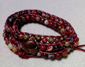 Red Brown Leather Four Wrap Bracelet