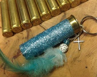 Glitter Blue Shotgun Shell Keychain