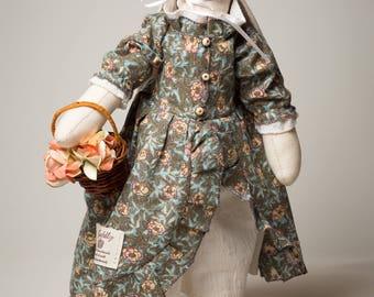 Lady-flower girl textille rabbit lapin tilda tilda rag doll handmade toy