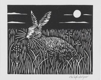 Moonlit Hare Hand Printed Linocut Mounted Ready to Frame