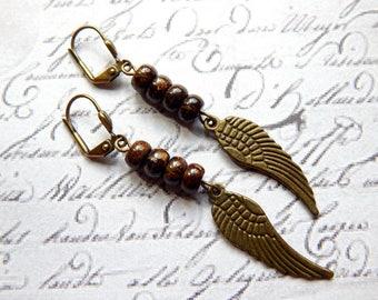 Bronzite and Angel Wing Dangle Earrings - Bronzite Earrings - Wing Earrings