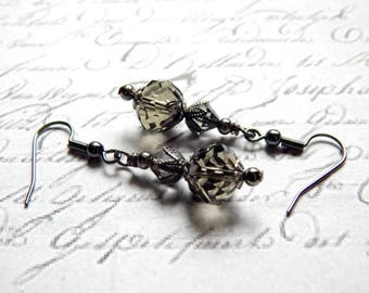 Smoky Grey Earrings - Grey Crystal Glass Earrings - Victorian Style Earrings - Vintage Style Earrings