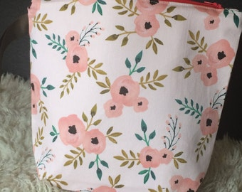 Knitting project bag, Zippered pouch, Cosmetics bag, wedge, Pink Roses Canvas fabric, gift
