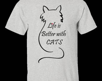 Life is better with cats cute cat t shirt