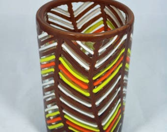Basket Weave Fused Glass Vase