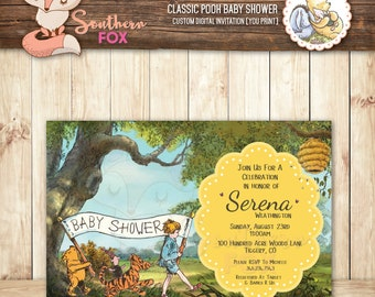 Classic Winnie The Pooh Baby Shower Invitation   Custom Digital Baby Shower  Invitation 4x6