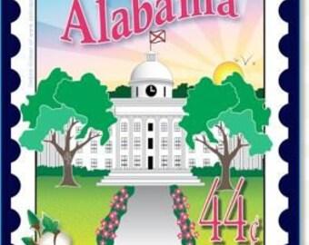 Mini Postage Stamp Panel - Alabama