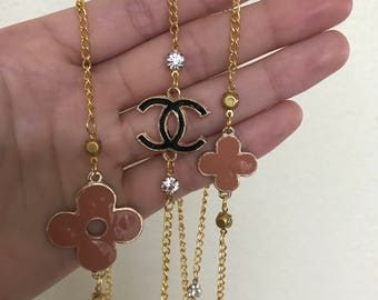 Last One in Stock!   Gold Chanel Inspired Monogram Pearl Necklace