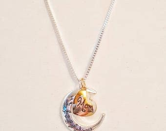 "Mother's Day Pendant Necklace ""I Love You to the Moon and Back"""
