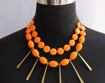 African jewelry, Kenyan necklace, Beaded necklace,  African necklace, Maasai necklace,Orange beaded tassel statement necklace