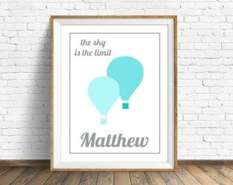 Sky Is The Limit Nursery Wall Art, Nursery Decor, Printable Image, Wall Decor, *Digital Print*