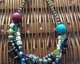 Colour-blocked bright pastel necklace