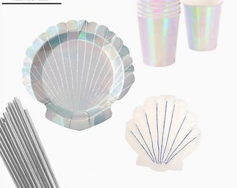 Mermaid Party in a box KIT, Party Plates , Mermaid party plates, party paper plates, Mermaid Party, Shell Plates, Iridescent party,