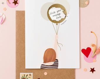 Girl With The Balloons Scratch Off Greeting Card - Write Your Own Message - Bob Hair Red
