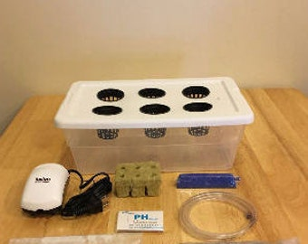 COMPLETE (6) Site 1 Gallon  Hydroponic Grow System Kit Bubble Dwc Indoor - FREE SHIPPING!