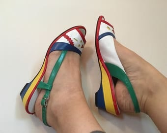 Vintage 1970s primary color sandal wedges by Penaljo